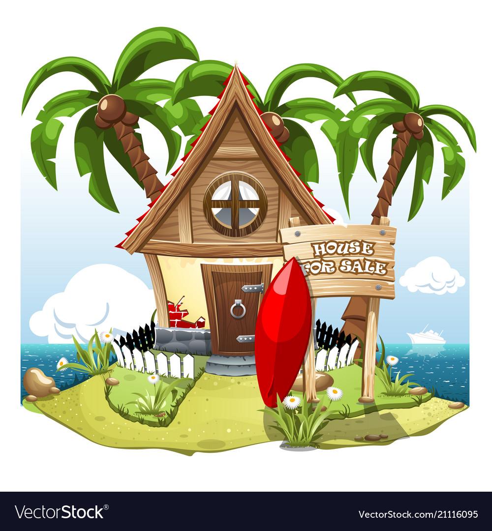 Cartoon fairy house on the beach on a green hill