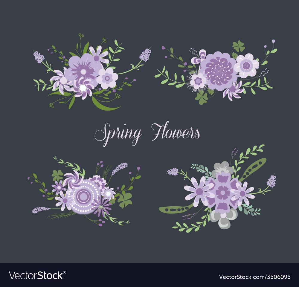 Chalkboard Spring purple Flowers