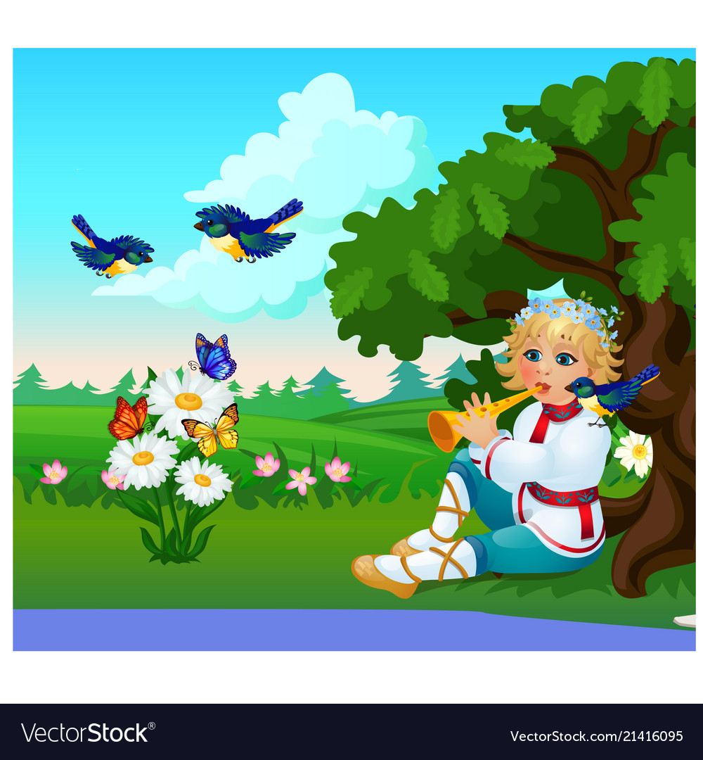 Cute poster with a boy in a traditional russian