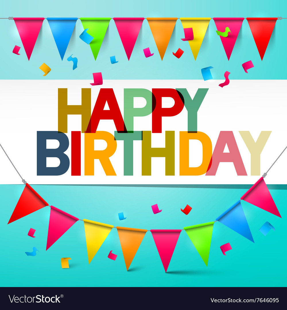 Happy Birthday Retro Colorful Card Bunting with