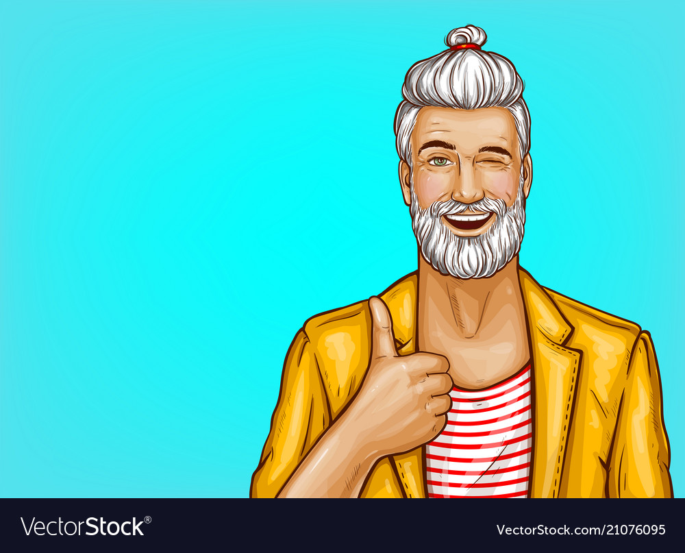 Pop art hipster winks and shows thumbs up