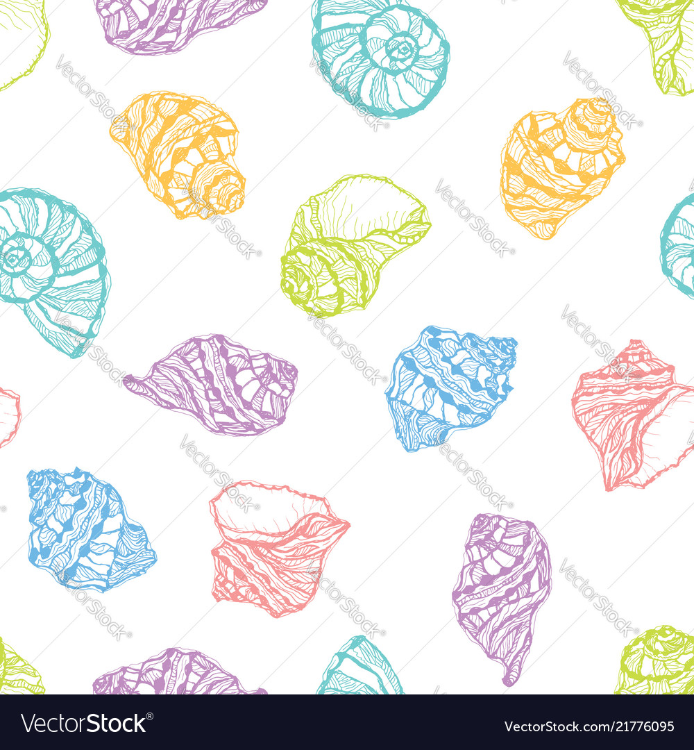 Seamless pattern from colorful seashell
