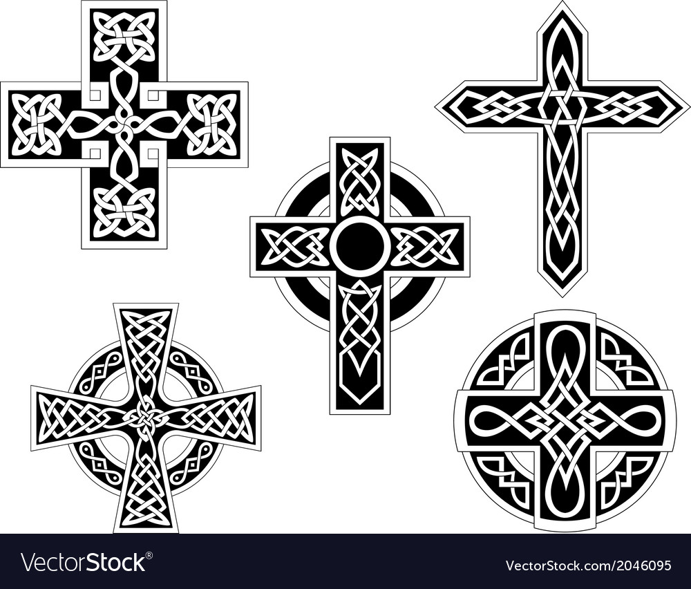 Set of celtic crosses vector image