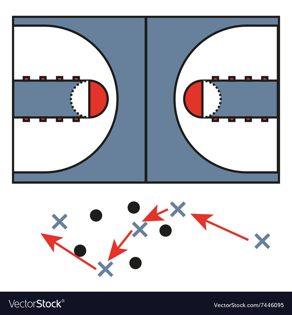 Strategic Moves in Basketball Game vector image