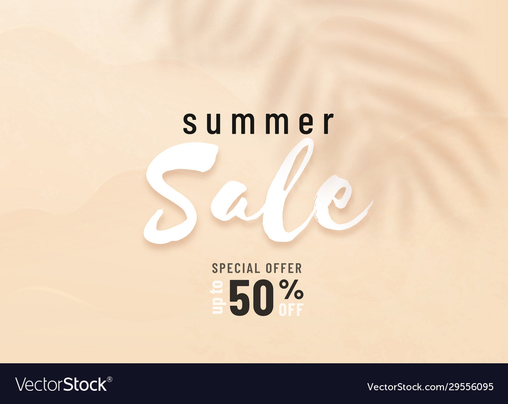 Summer sale background with palm leaf