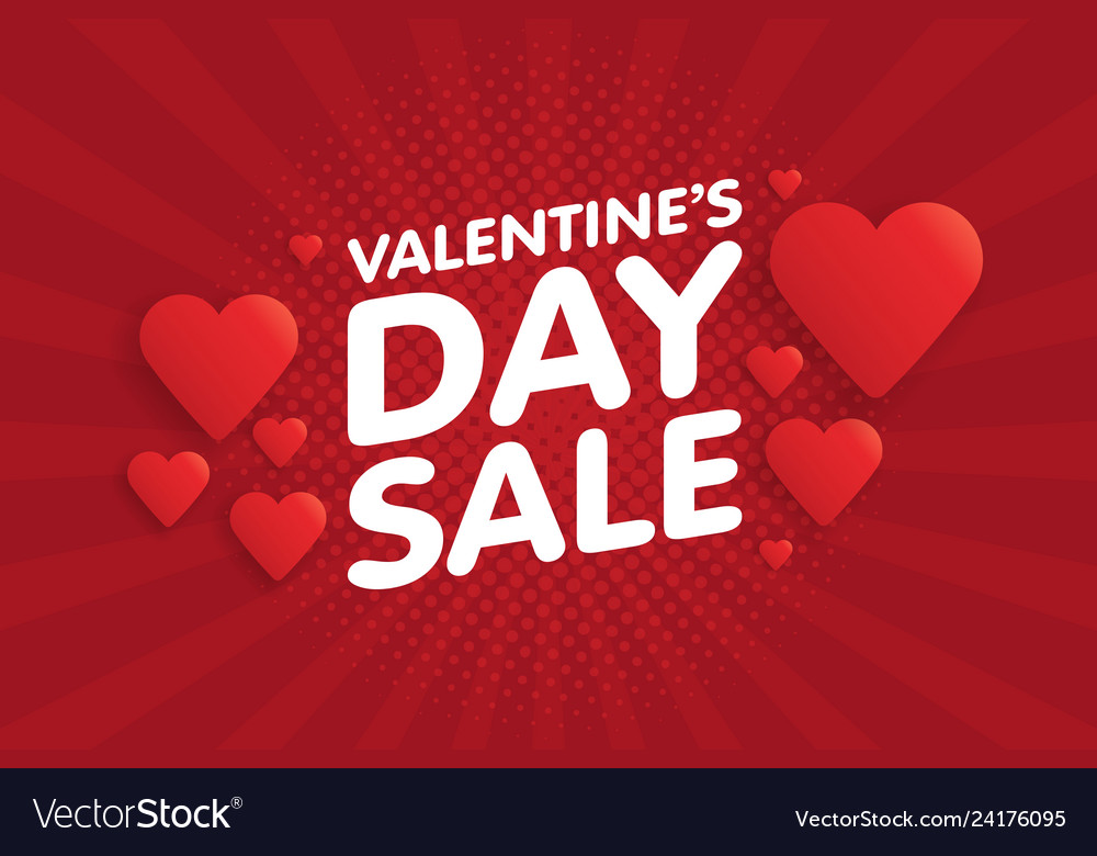 Valentines day sale banner in vintage comics