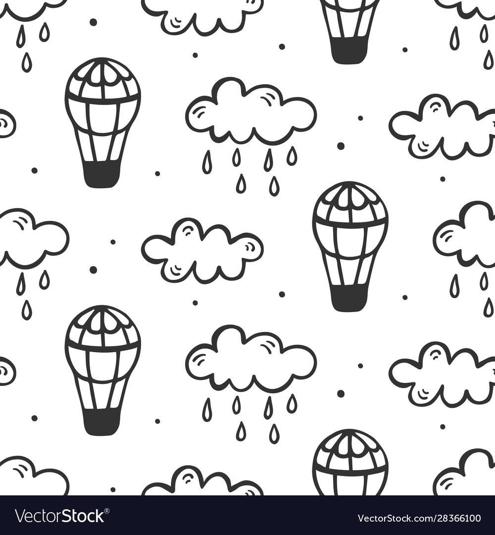 Air balloons seamless pattern
