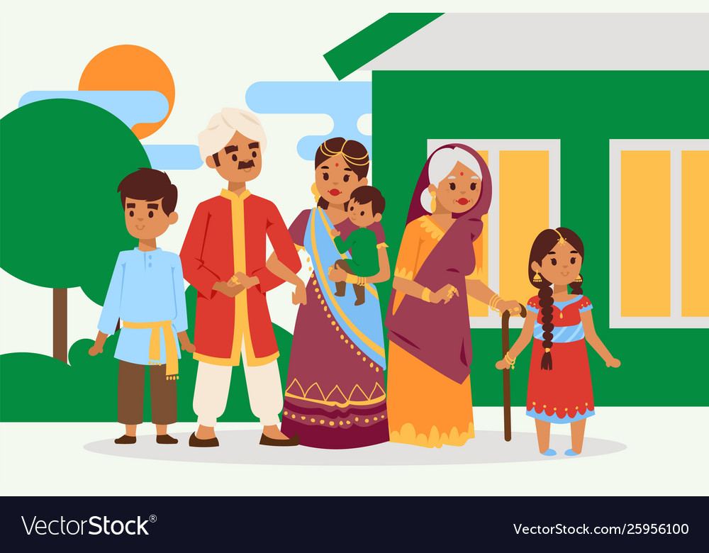Big happy indian family in national dress
