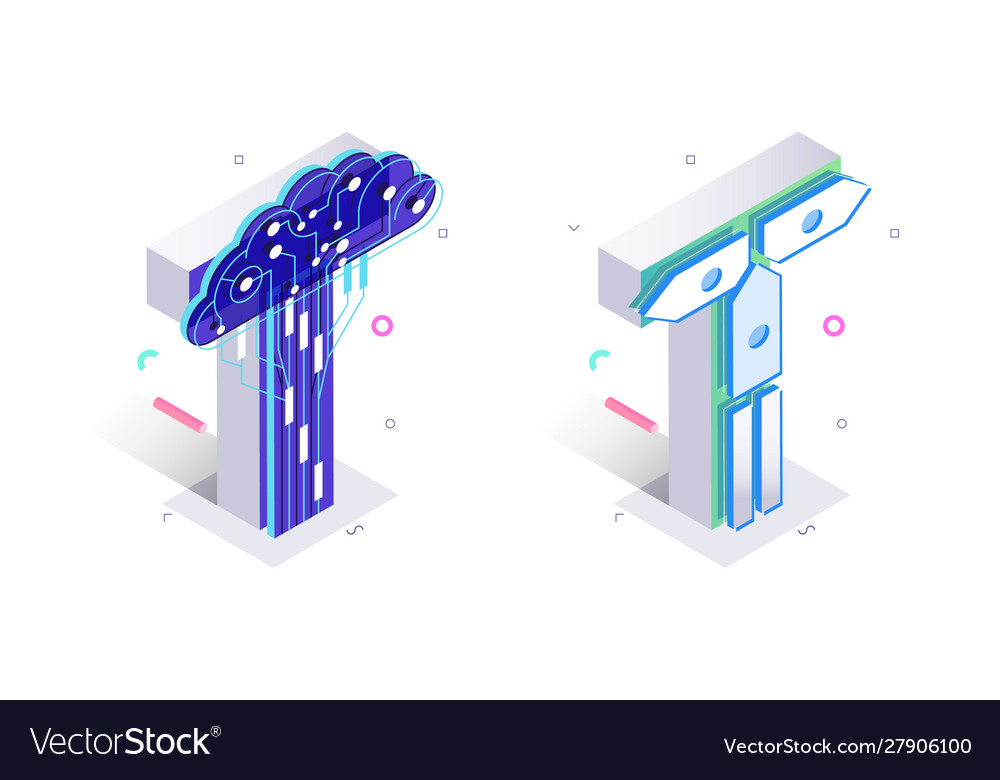 Blue 3d isometric letter t made with cellular