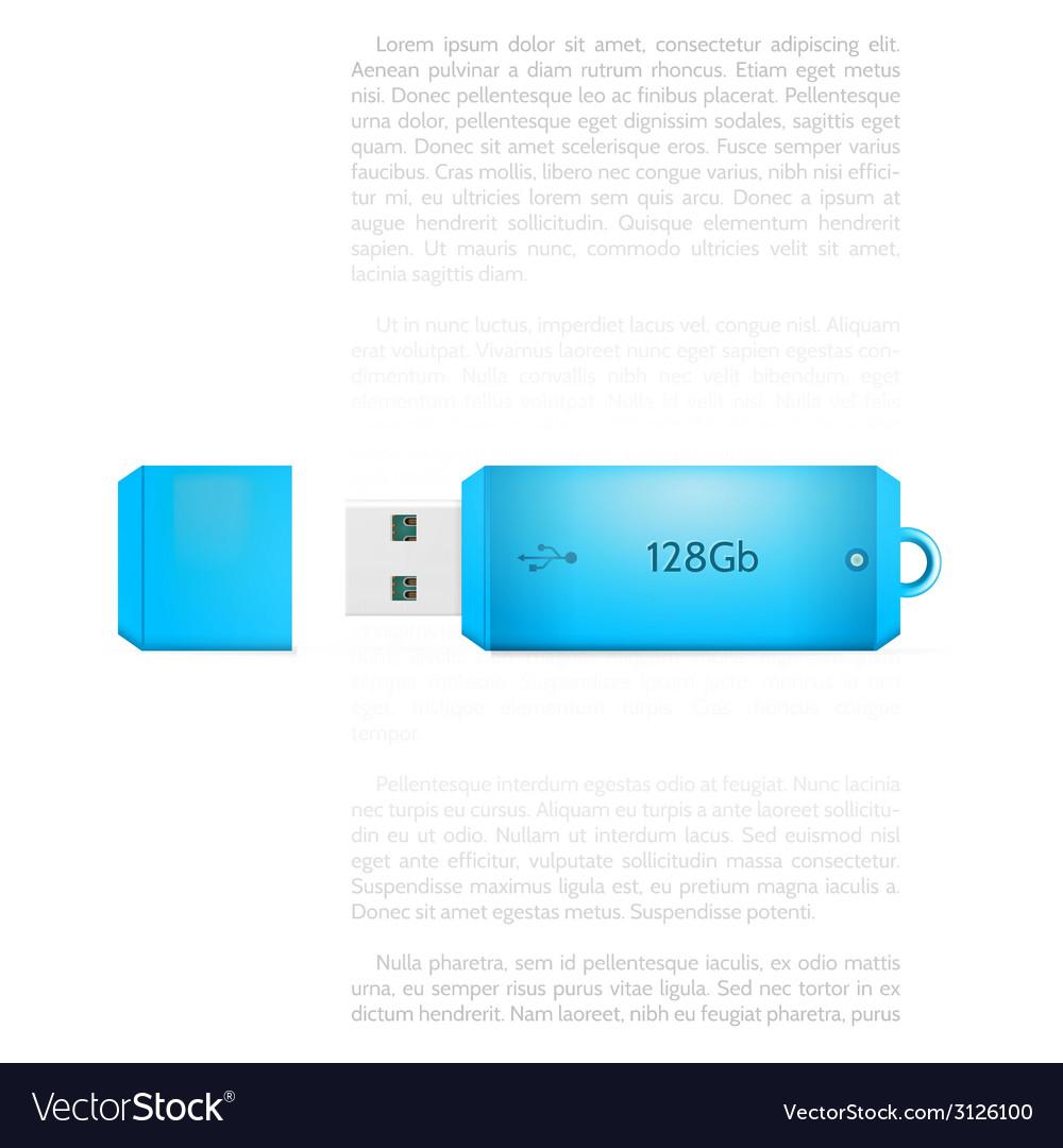 Blue USB flash drive vector image