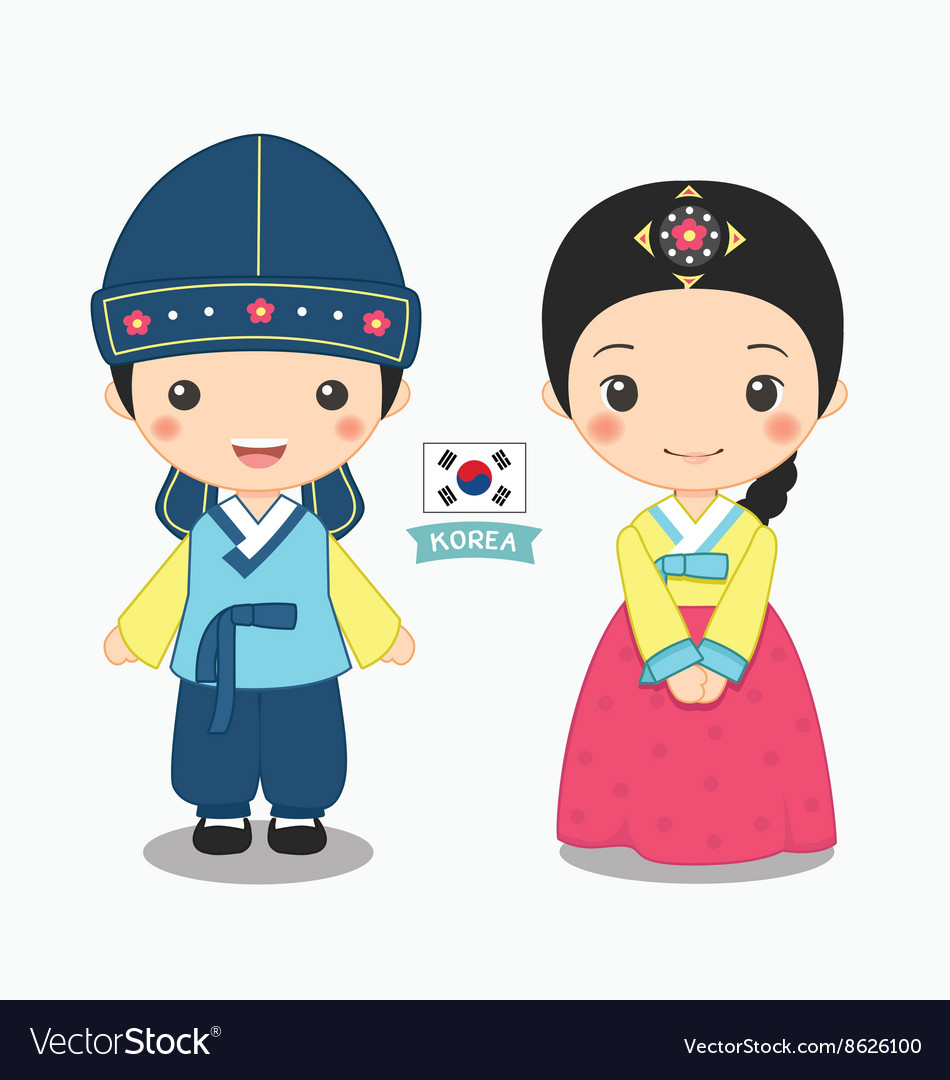 Boy and girl in korean costume vector image