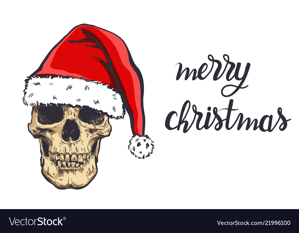 Graphical skull in new years hat