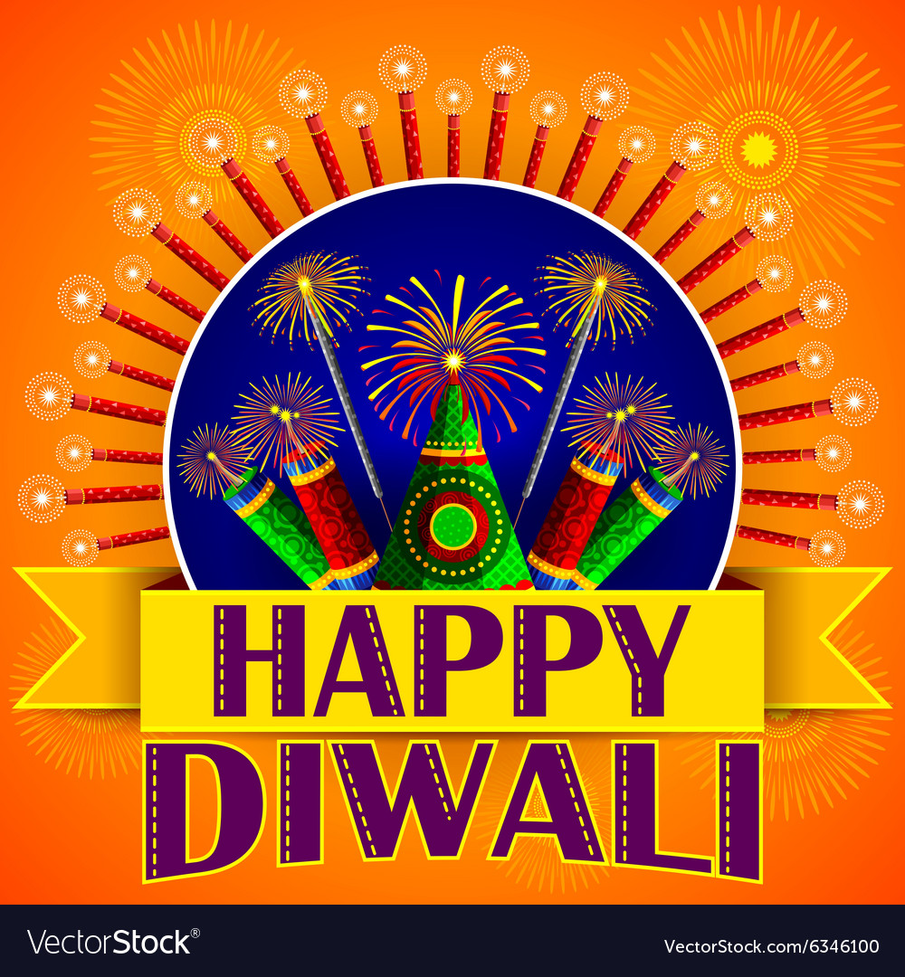 Happy Diwali background with colorful firecracker