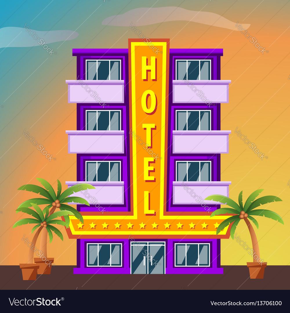 Hotel on sunset landscape modern hotel building