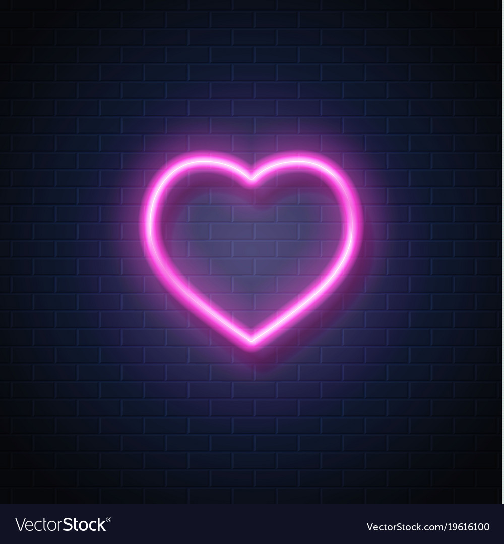 Neon heart icon sign