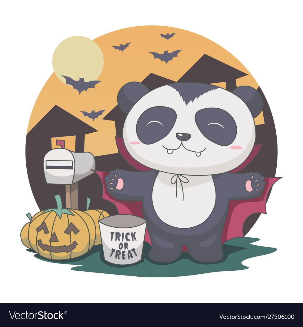 Panda dracula in night halloween bat mailbox