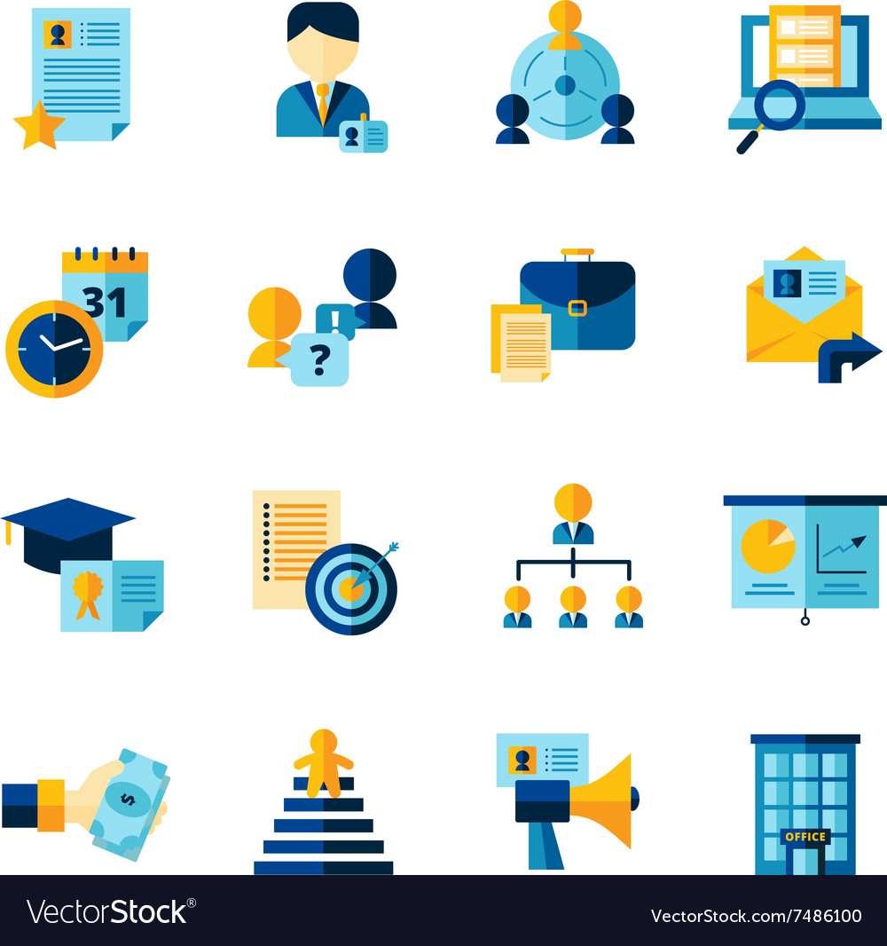 Resume Flat Color Decorative Icons Set vector image