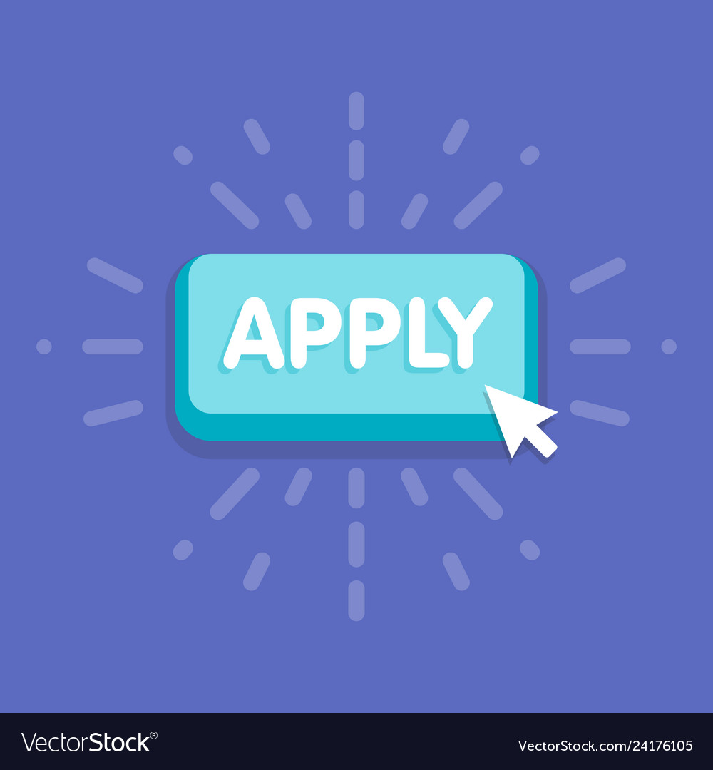 Apply button with cursor in flat design