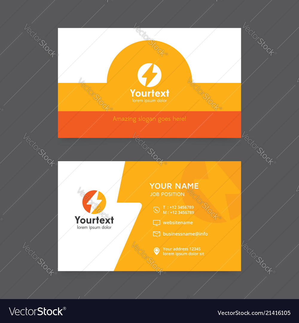 Creative business card in yellow and orange color