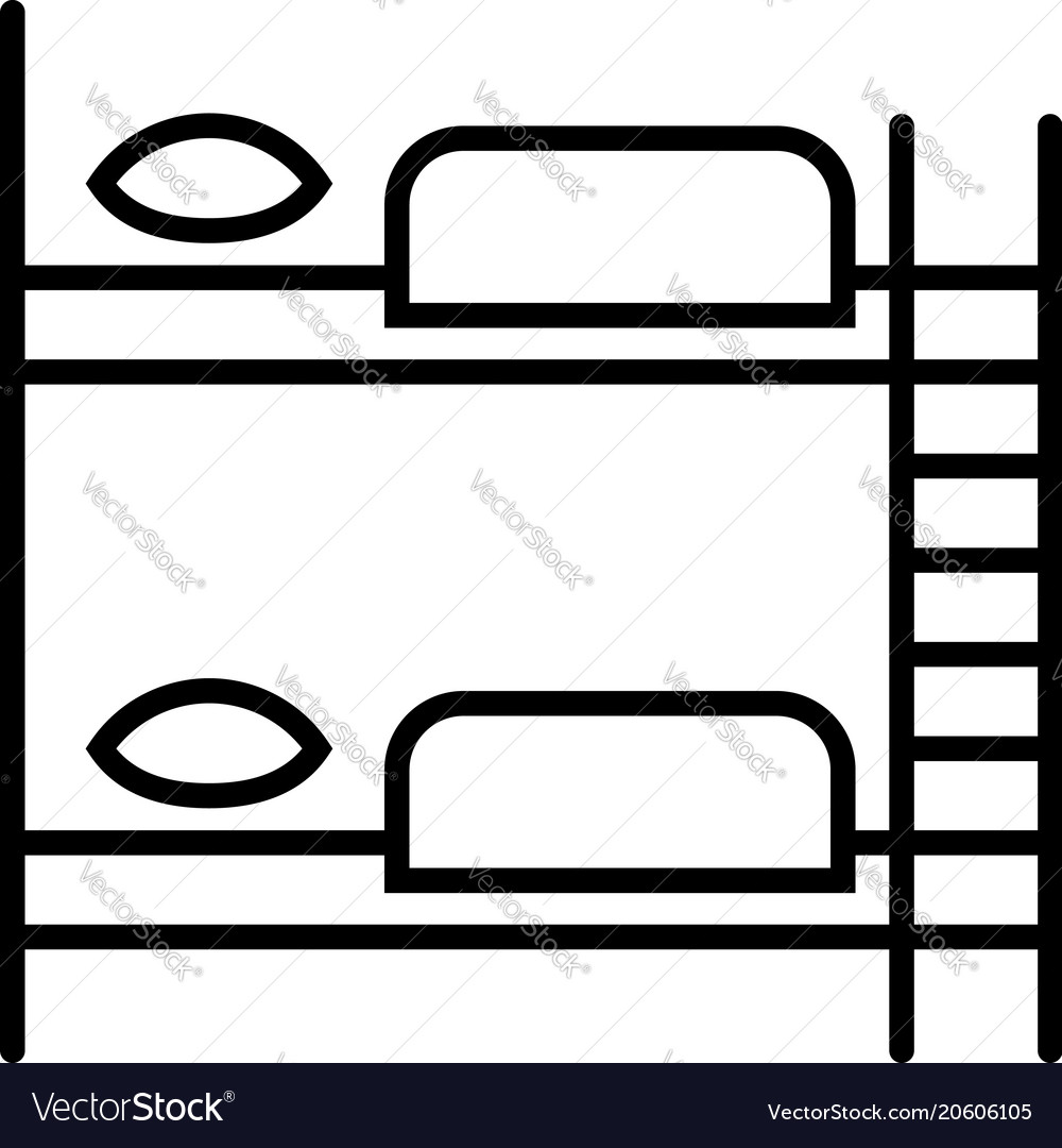 Furniture for hostel bunk bed linear icon