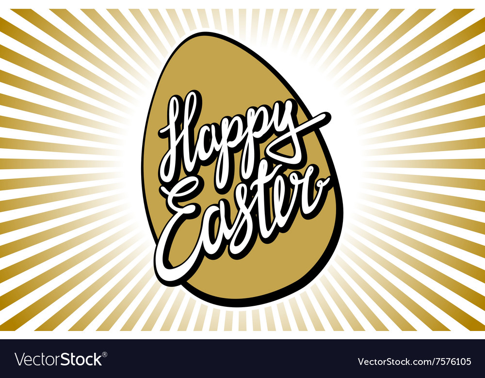 Gold Foil Calligraphy Happy Easter Greeting Card