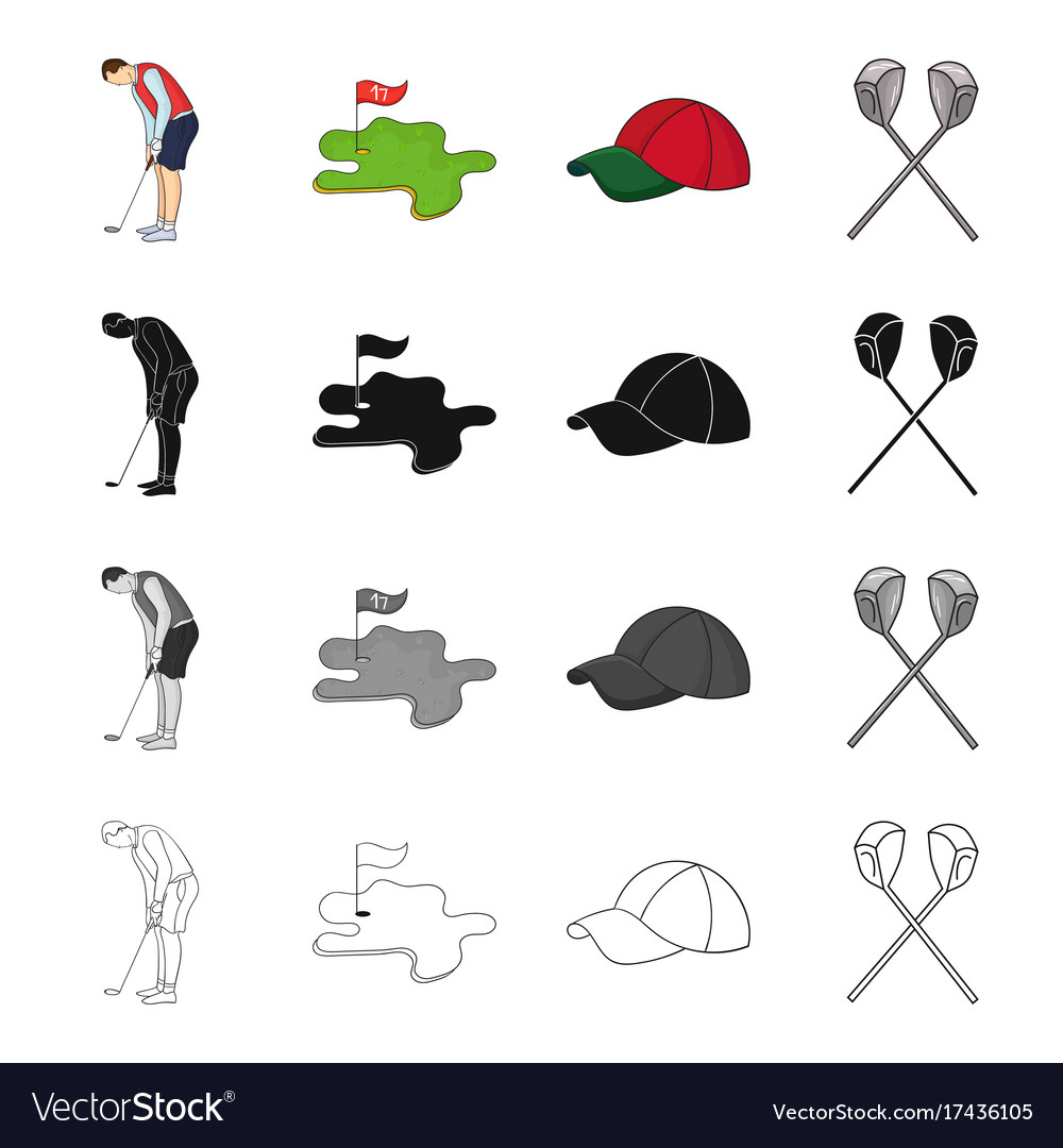 Golfer with stick golf course cap crossed clubs vector image
