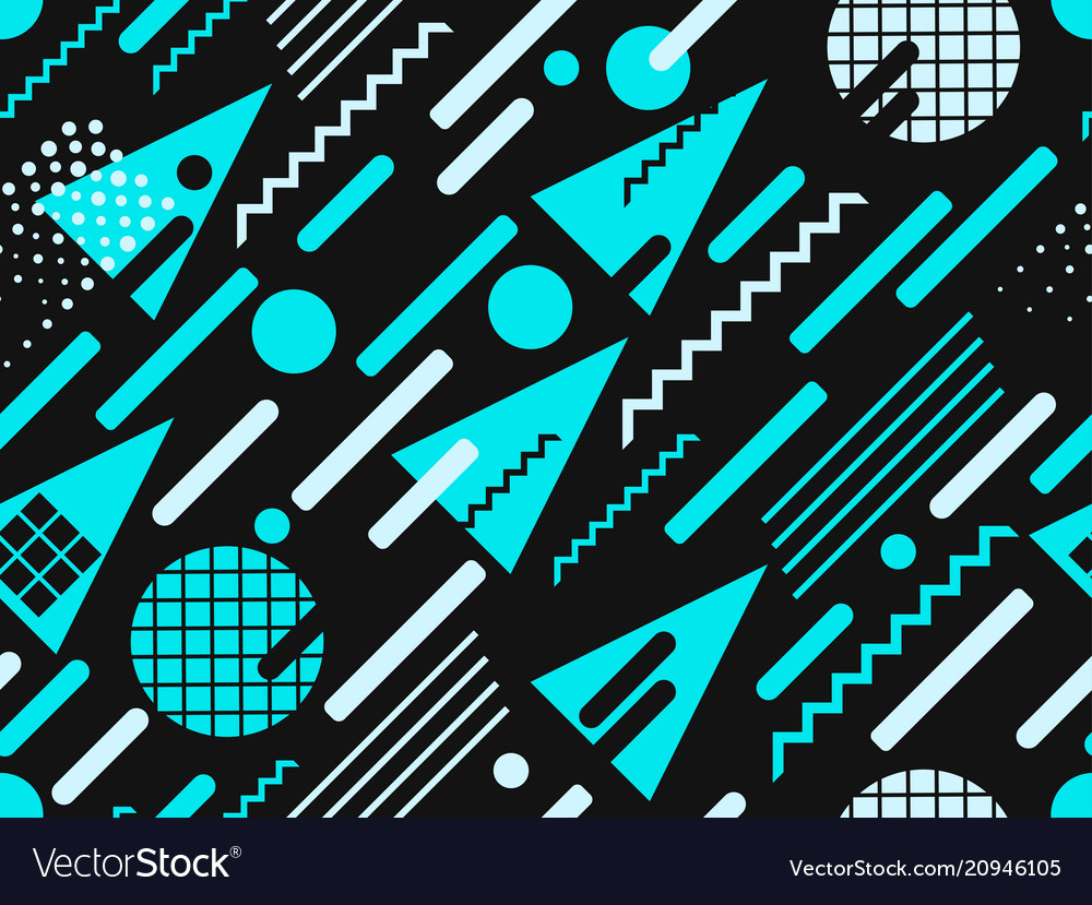 Memphis seamless pattern blue color geometric