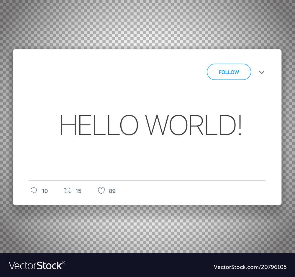 Modern social media messenger post hello world