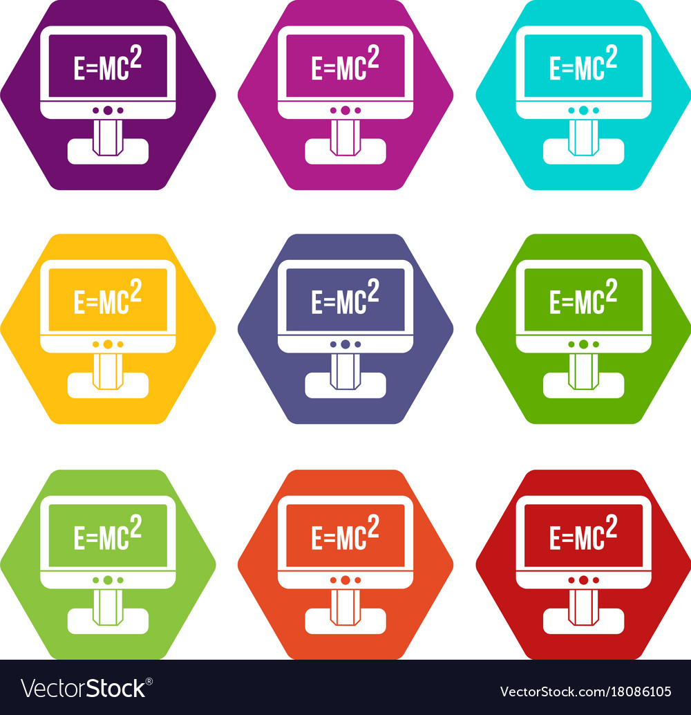 Monitor with einstein formula icon set color
