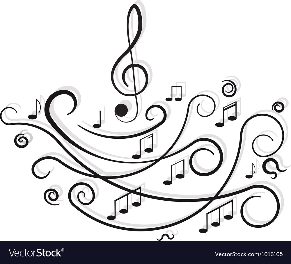 Musical notes ornament with swirls on white