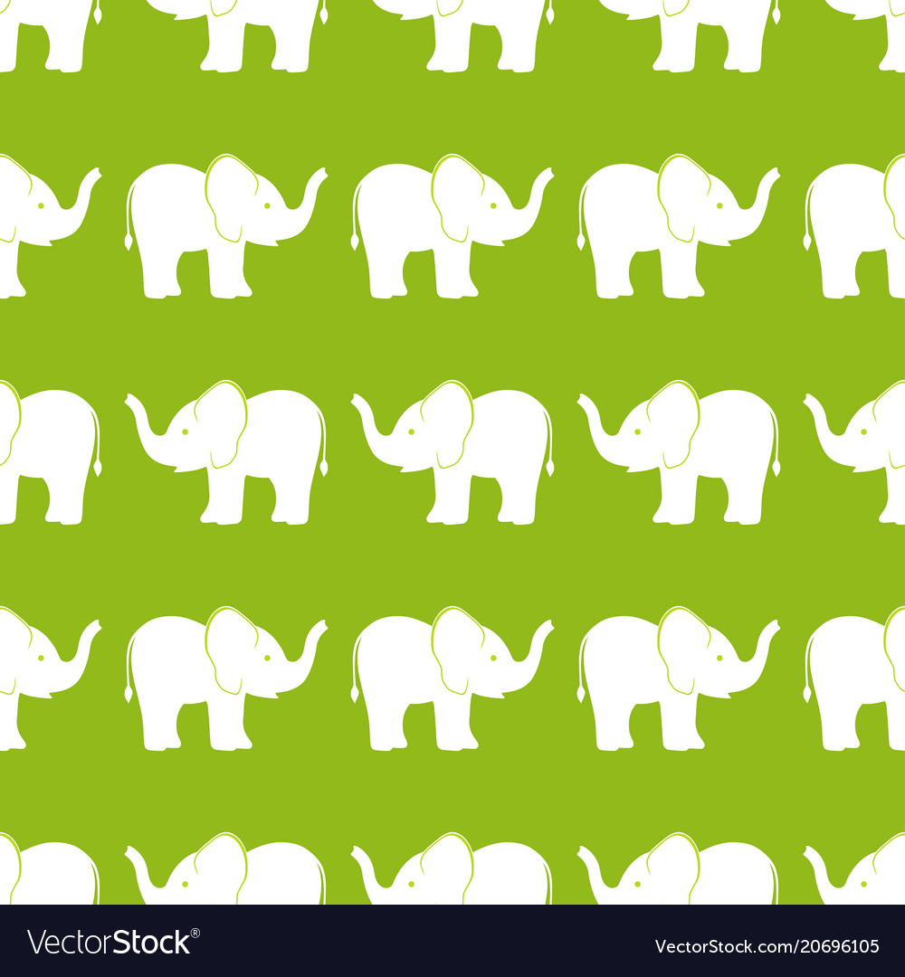 Pattern with elephants on olive background