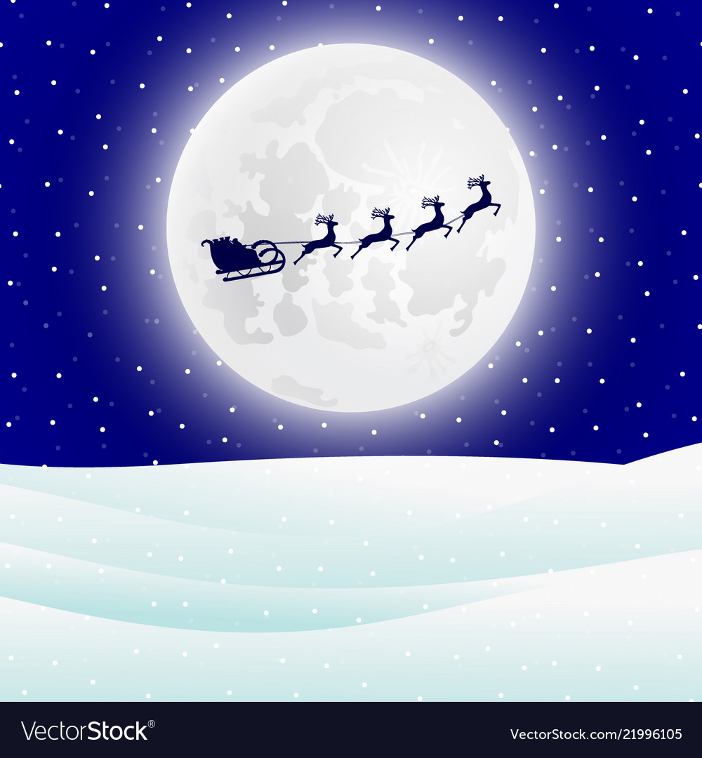 Reindeer in harness with sleigh santa claus