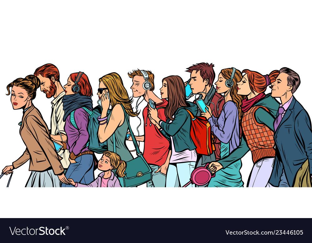 The crowd of pedestrians men and women