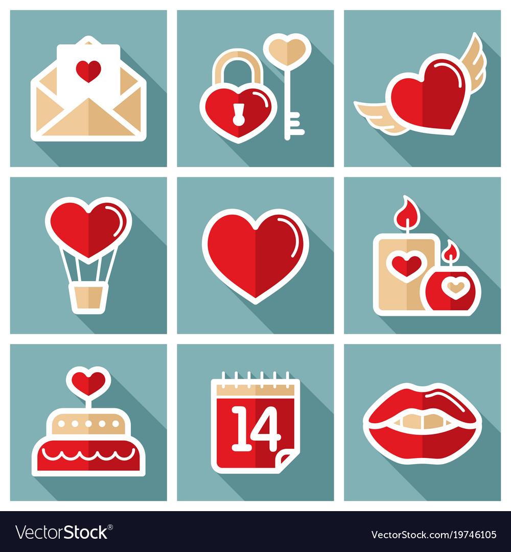 Valentine day set icons