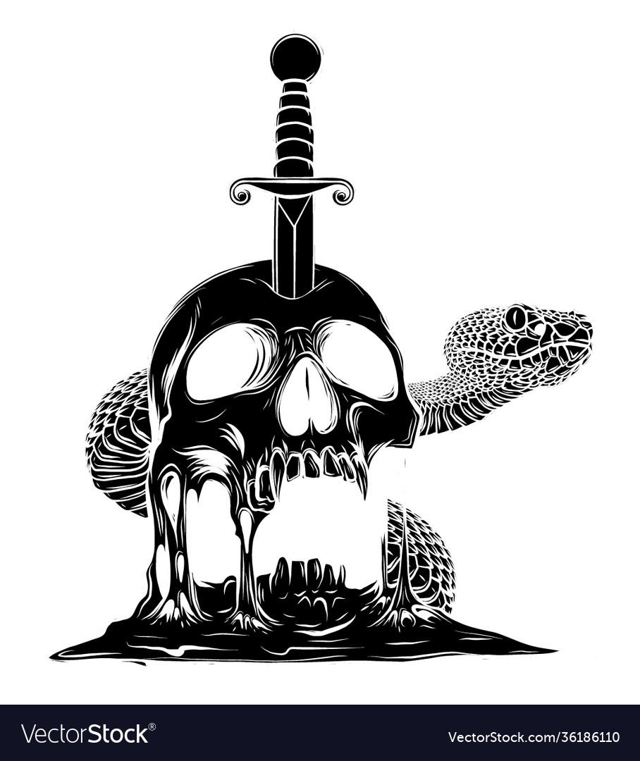 A knife through skull black silhouette simple