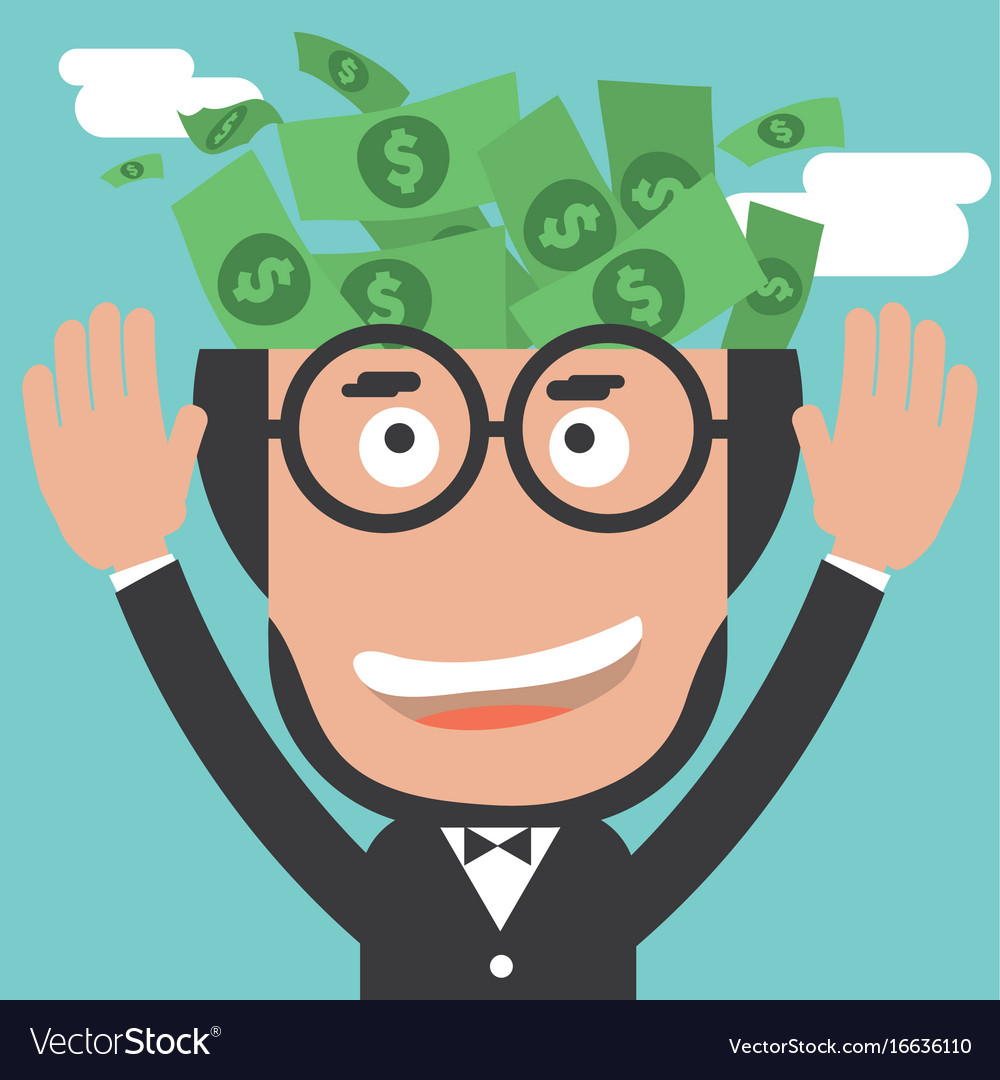 Banknotes in businessman bald head vector image