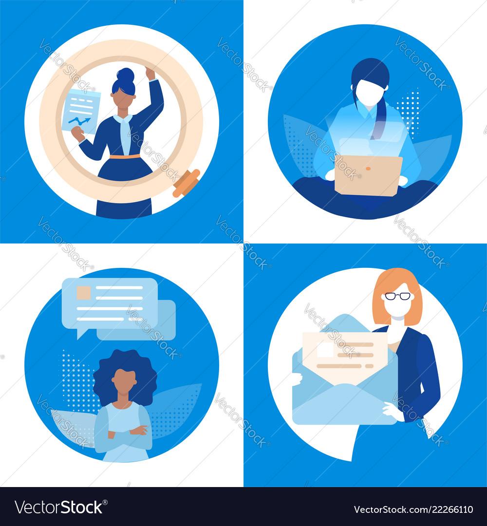 Business communication - set of flat design style