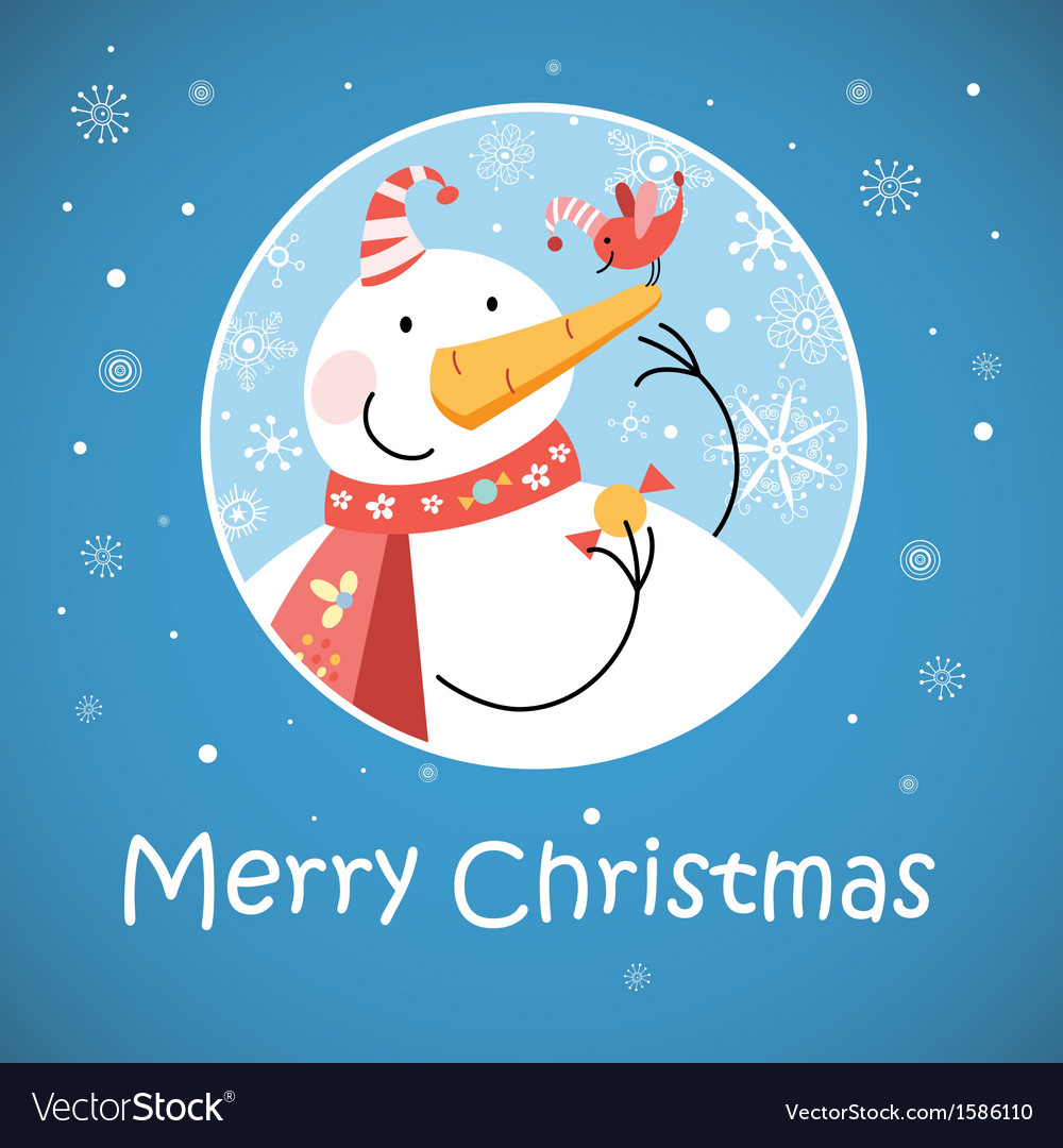 Christmas greeting card with snowman Royalty Free Vector