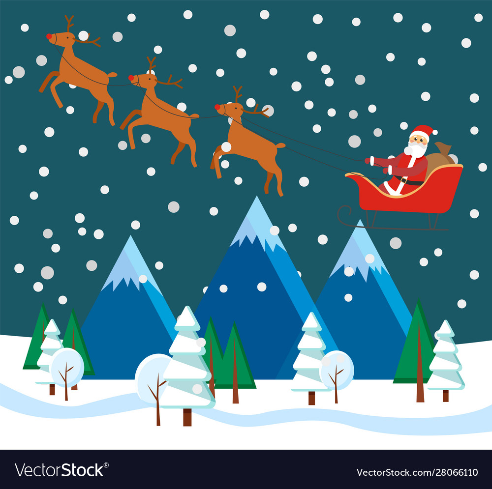 Christmas winter landscape with santa and reindeer