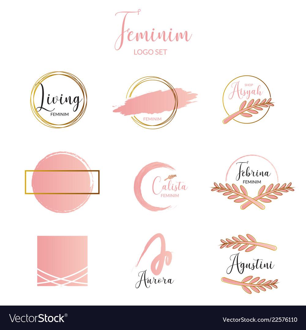 Feminine and minimalist logo template collection
