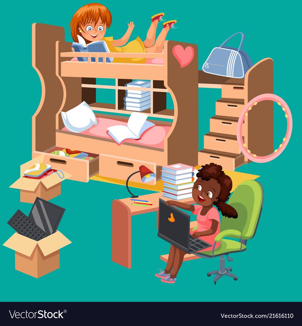 girls dorm room flat poster dormitory interior vector image  vectorstock