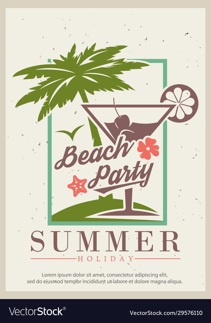 Summer beach party retro poster design