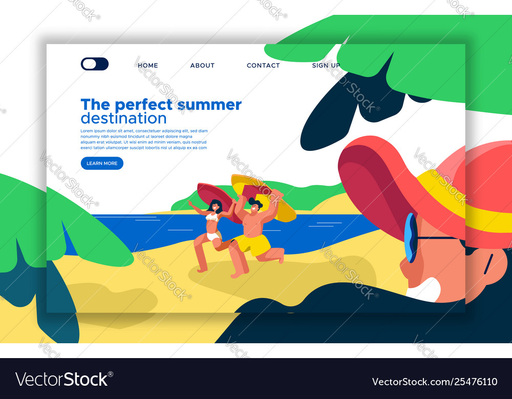 Summer beach vacation landing page template