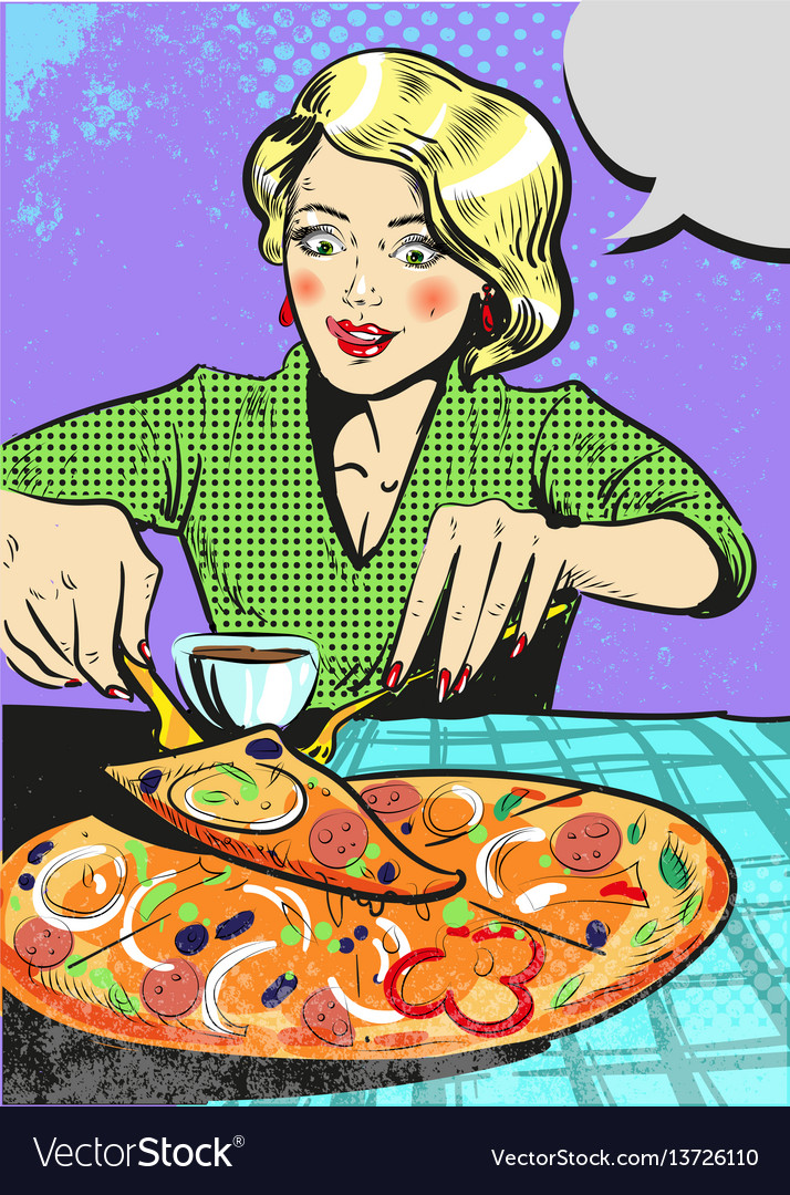 Woman eating pizza with emotion pop art comic