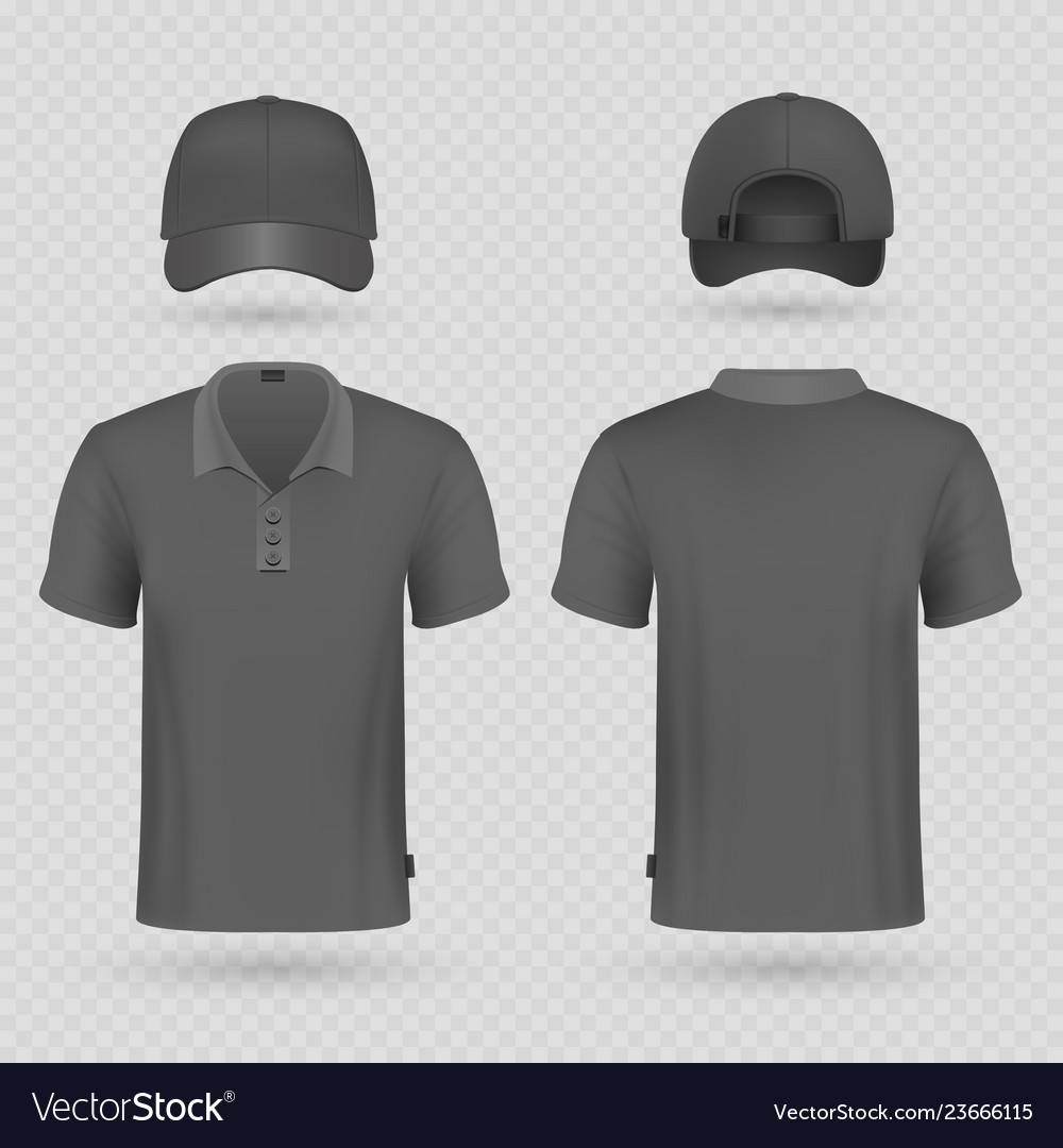 Black baseball cap and male polo t-shirt realistic