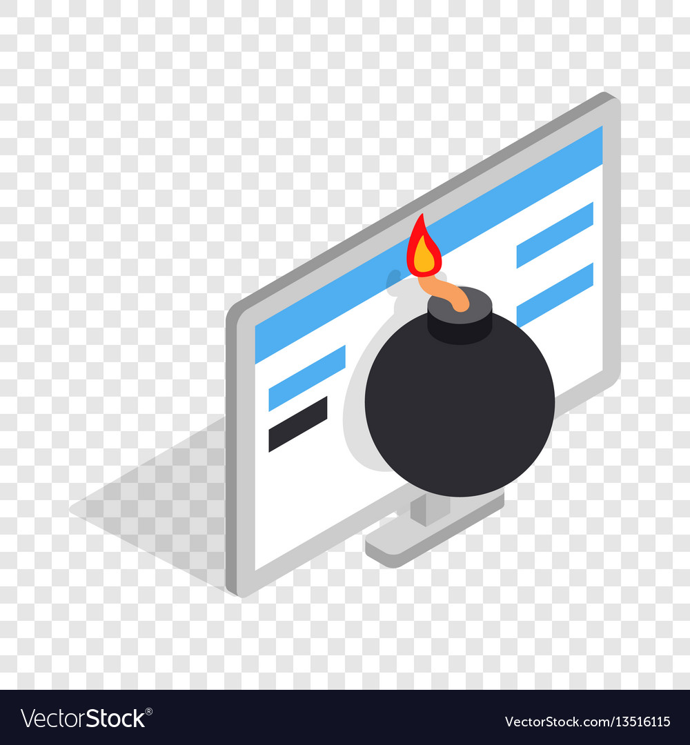 Bomb and computer monitor isometric icon