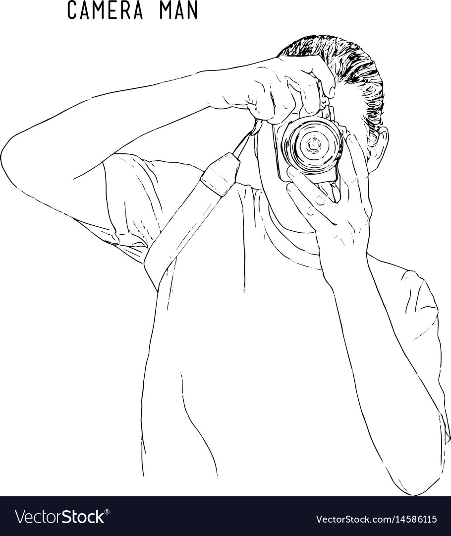 Cameraman with camera hand drawn