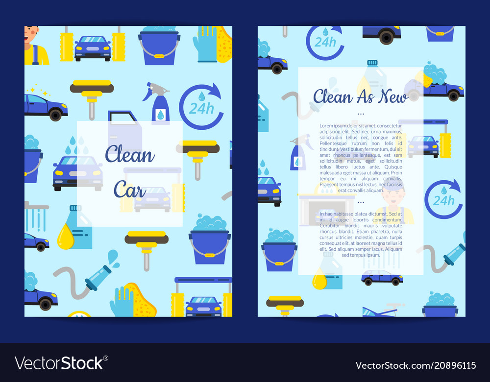 Card templates set for with car wash flat vector image