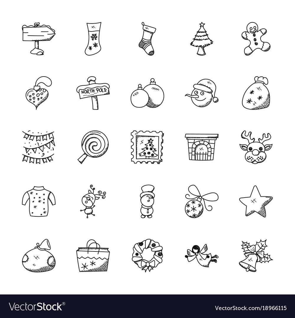 Creative christmas doodles set