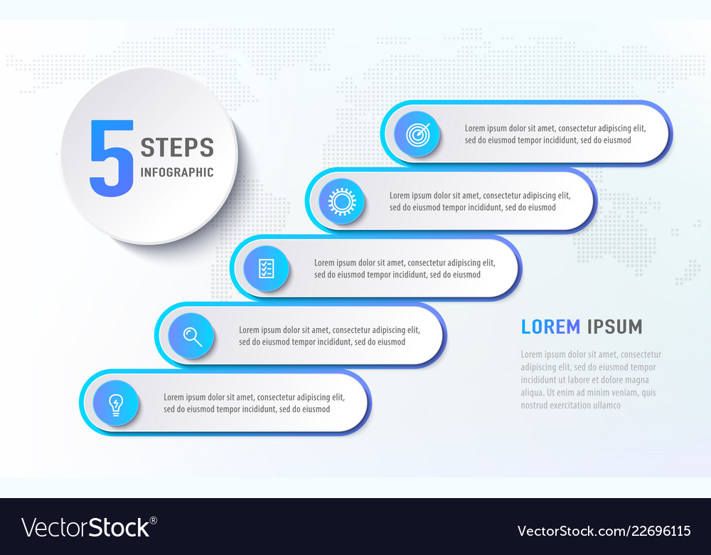 Five steps infographics like a stairs diagram